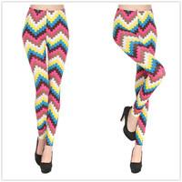 1641 European and American milk silk printing color wavy hot pantyhose leggings wholesale trade