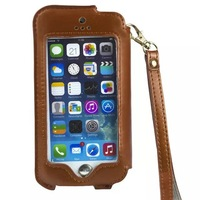 Full Touch Screen Leather Slim Rope Pouch Case For Galaxy S5 i9600 / For iphone 4g 4s 5g 5s Universal skin Stand Cover 40pcs