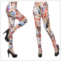 9607 beauty lips milk silk printing color leggings pantyhose leggings