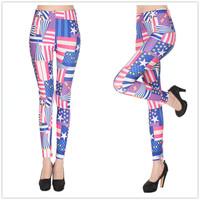 9802 Blue Star Flag milk silk printing stripe leggings pantyhose leggings