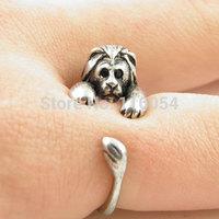 Free shipping New Fashion Vintage Silver Brass Knuckles Adjustable Leo Simba Lion Animal Wrap Boho Mid Finger Ring Men Wholesale