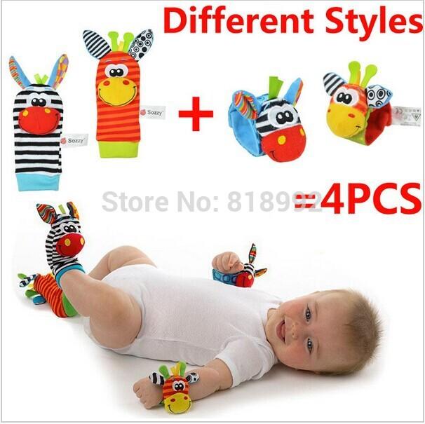 Hot sale NEW STYLE (4pcs=2 pcs waist+2 pcs socks)/lot,baby rattle toys Garden Bug Wrist Rattle and Foot Socks,Christmas gift(China (Mainland))