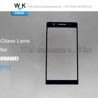 10pcs/lot  Wholesale High quality Front Screen Glass Lens black  colour For HuaWei Ascend P6 free shipping