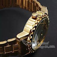 2014 Golden Steel Luxury Automatic Watches Men gearwheel mechanical watch Stainless Steel Automatic Skeleton Mechanical Watch