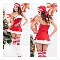 New 3Pcs Santa Candy Cane Chiristmas Costume best service best quality B6036CF