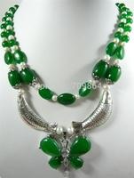 New Hot Fashion Jewelry Beautiful Lady's Stylish white pearl green jade Miao Silver fish pendant necklace / free shipping 1pcs