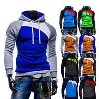 2014 New Winter Leisure Men's Hoodies Patchwork colors Napping Fashion Men's Sweatshirts Hooded men coats 9 colors