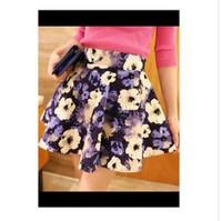 Elastic waist retro nostalgic flower print pleated bust skirt