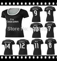 Real Madrid 3D away black woman female girl soccer kits Thai quality 2014-15 CHICHARITO JAMES KROOS Ronaldo,Bale,Isco,Ramos