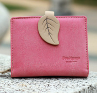 2015 New Arrival Hit Color Leaves Ladies Purse Sweet Lady Short Wallets Fashion Clutch Wallet Coin Purse