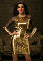 New Arrival Sexy Women Long Sleeve Mesh Casual Dresses Waist Cut Out Yellow Party Dress pu leather dress