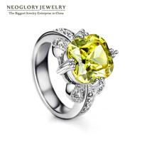 Neoglory Green Zircon Charm Nonadjustable rings for Women Platinum Plated Fashion Wedding Jewelry Accessories 2014 New Brand RI1