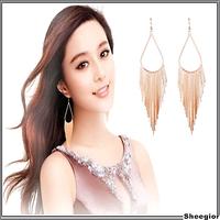 3 colors Fashion Brand Gold Silver Black Long drop earrings for girls women Elegant ear accessories Metal tassel chains earrings