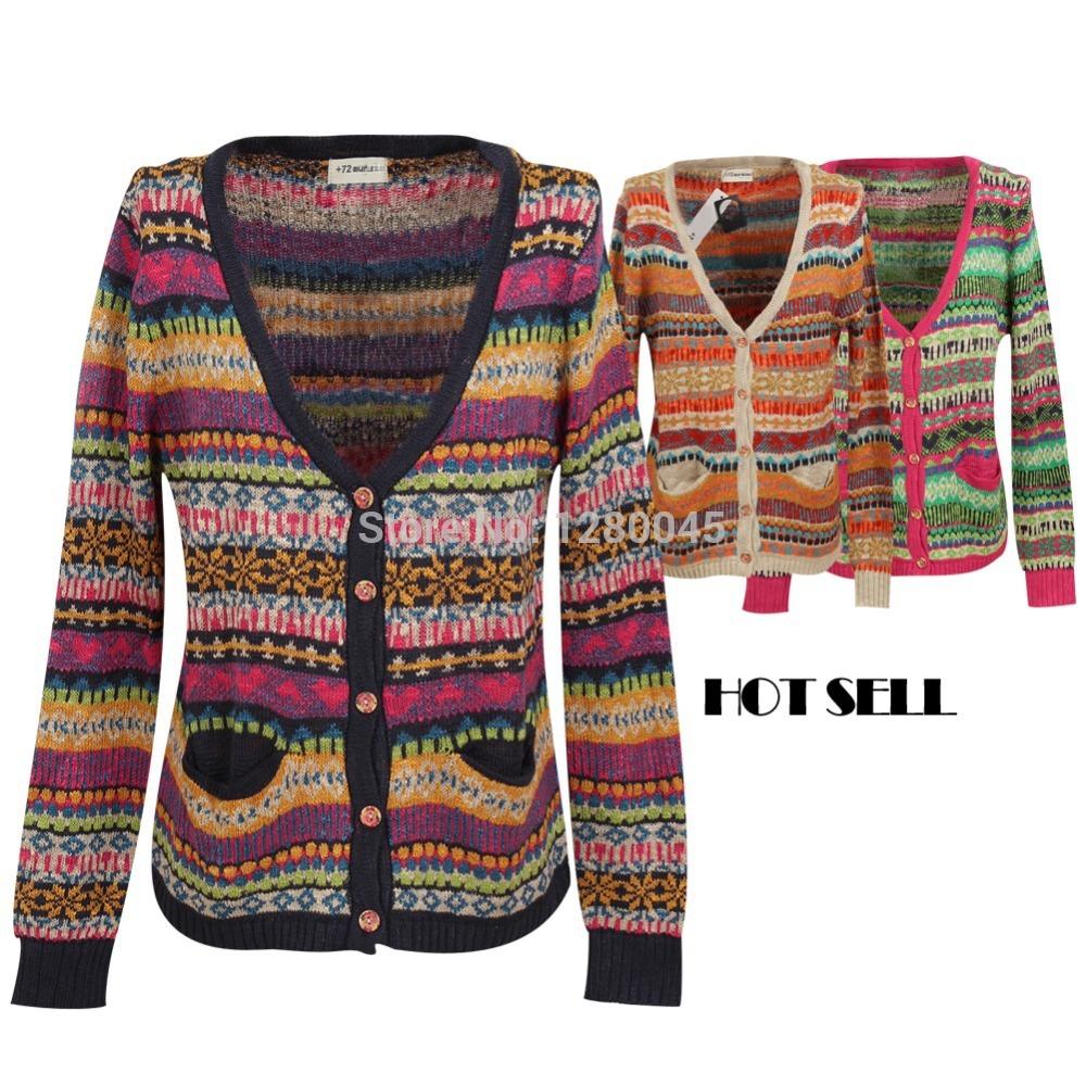 Mulheres Bohemia estilo étnico malha Cardigans camisola Jacquard solto outono quente blusa Casual Tops tamanho livre(China (Mainland))