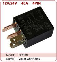 CR009 Violet 12v / 24v 40A  4 PIN Car relay / automotive relay