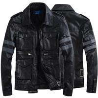 2014 Super fashion leather men jacket multi pocket men's leather coat winter jacket  free shipping high quality plus size 3XL-M