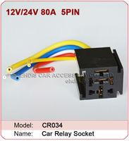 CR034 Auto 12V 80A  5PIN  car relaysocket Electromagnetic Relay socket