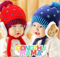 2014 New Arrived Cartoon winter Starry Bear plus velvet ear wool cap Children bomber hats Age For 4-24 months old