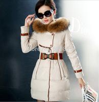New 2014 Fashion Winter Long Down Jacket Plus Coat Women Thicken Slim Elegant Ladies Luxury Raccoon Fur Collar Parka