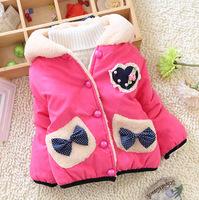 New winter children outerwear Love heart fleece thicken children girl cotton coat 2014 down jacket for girls