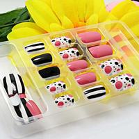 Lovely 24PCS Fashion Nail Art French False Nails Cute Fake Nails Tips With Free Adhesion V3NF