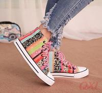 2014 Autumn High Color Sneakers Platform Brand Canvas Sneaker Elevator Women's Shoes Woman  Flowers Print  Hip Hop Shoe Floral