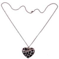 Cute Leopard Print Clear Crystal Rhinestone Heart Shape Pendant Necklace Collier Halskette Colar Collar