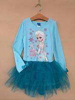 Girls Frozen Long Sleeve Girl Autumn Cotton tutu dresses Baby & Kids Frozen Girl T Shirt New 2014