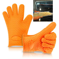 Free Shipping Brand new heat-resistant silicone gloves barbecue oven cooking pot pad tool kitchen gloves