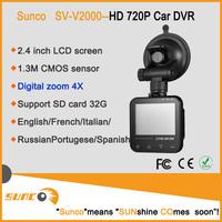 2014 NEW 720P Black Car Camera recorder with G-sensor SOS Night Vision function 2.4 inch LCD screen 4X Digital Zoom Dash cam