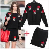 autumn-summer women casual dress suit baseball sweatshirt girls mini dress sweater clothing set
