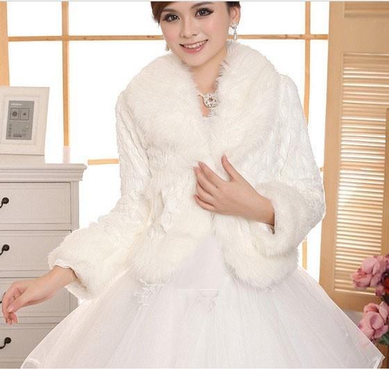 Free Size Ivory wedding Accessories Faux Fur winter wedding coat Wrap Shrug Bolero Bridal Shawl(China (Mainland))