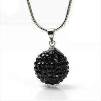 "Wonderful 10MM  Shamballa Bead 925 Sterling Silver Perfect Disco Ball Pendant Necklace 22"""