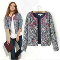 free shipping Women European and American style retro floral print round neck jacket blazer embroidery