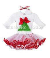Retail Girls Christmas Dress white color tutu dress Long Sleeve Christmas Tree Princess Dresses Kids Clothes