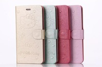 100pcs/lot DHL/EMS Shipping Lovely Hello Kitty holster case flip stand cover for iphone6 plus 5.5''inch with card slot
