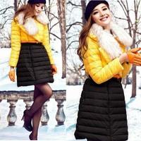 Winter 2014 High-end Raccoon Fur Collar Slim Warm Long Down Coat 141011YB01