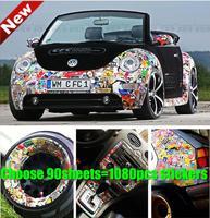 Waterproof Sunscreen PVC Car Stickers 1080PCS 5-12 Mini Stickers = 90 sheets A4 Car Stickers for Smart Mini Beatles doodle Decor