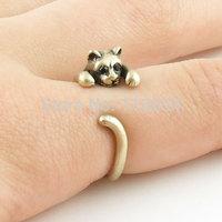 New Fashion Vintage Bronze Brass Knuckle Moggie Cat Wedding Ring Boho Animal Wrap Mid Finger Rings Men Free Shipping