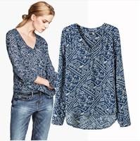 Print Cotton Blouse Casual Shirt Women Long Sleee Ladies Tops Blusa Camisa 168