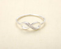 10pcs/Lot Cubic Infinity Ring - Silver Half Crystal Infinity Rings