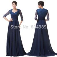 A Line Navy Blue Sleeve Mother of the Bride Lace Dresses Floor-length Chiffon Special Occasion Dresses vestido de madrinha 6234