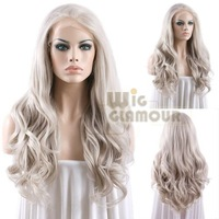 """Hot Long Body Wavy 14""""-28"""" Grey Mixed Blonde Lace Front Wig Heat Resistant Synthetic Wig #Color & Style# As the Picture Show"""