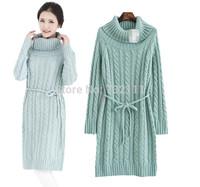 Hot Sale 2014 Autumn-Winter Dress Women Slim Cotton Blend Heaps Collar Long Clothes Chinese Doughnut Stripe Sweater Dress SY1061