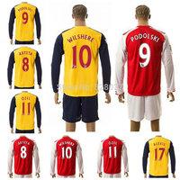 New Fashion Long Sleeve Uniforms Rosicky Podolski Ozil Wilshere Alexis Welbeck Ramsey Red Blue Yellow Jersey 14-15 Soccer Jersey