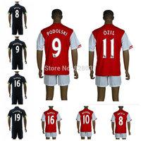 New Fashion Uniforms Kit Rosicky Podolski Ozil Wilshere Alexis Welbeck Ramsey Koscielny Red Blue Yellow Jerseys 14-15 Soccer