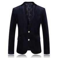 2014 Autumn New Arrival Men Velvet Casual Suit Jackets Plus Size XXXXL Dark Blue Work Party Blazer Male Business Coat