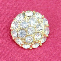 Free Shipping 100pcs/lot Round Clear Rhinestone Button with Shank, Crystal/Gold Plating, Item no.: ART284
