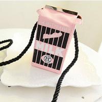 1pc/lot Cute Stereo Mini Milk Box Makeup Cartoon Cartons Bag Women Fashion Letter Canvas Shoulders Bag EJ840044