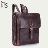 Mochila Feminina Daily Backpack 2015 Rushed Leather Backpack Mochila Infantil New Men's Guaranteed 100% Genuine for Shoulder Bag
